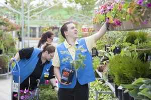 Josh Speight, Sales Associate, organizing plants at Walmart